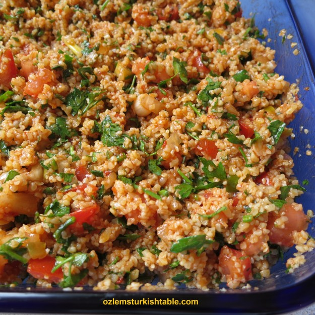 Spicy Bulgur Wheat Salad with onions, tomatoes, parsley with olive oil ...