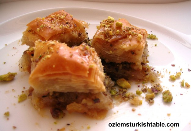 Baklava with pistachios and walnuts, such a delicious treat