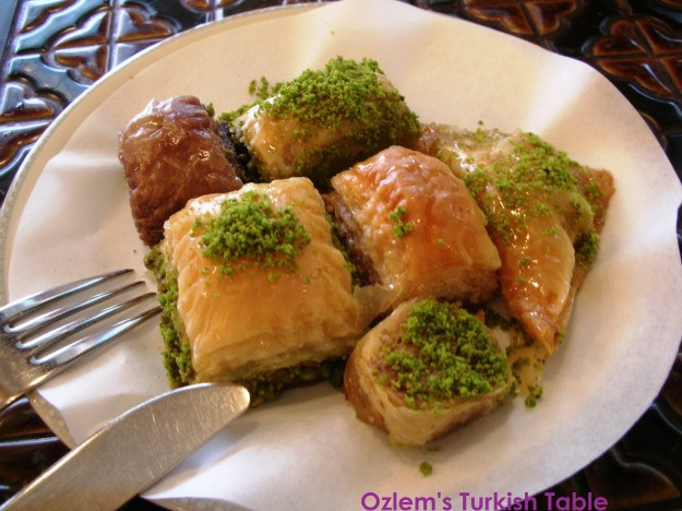 Baklava with walnuts and pistachios