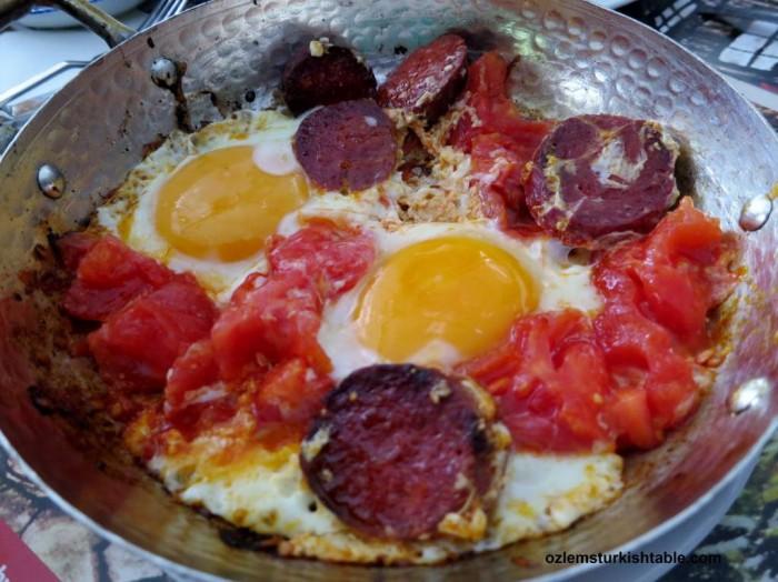 Eggs with Turkish sucuk (spicy sausage) and tomatoes, Domatesli, sucuklu yumurta - Ultimate Turkish breakfast!