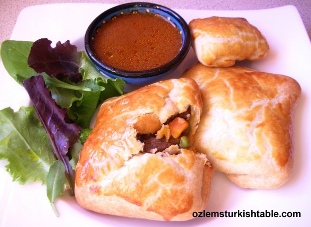 Talas borek; lamb and vegetables wrapped in puff pastry; easy and delicious