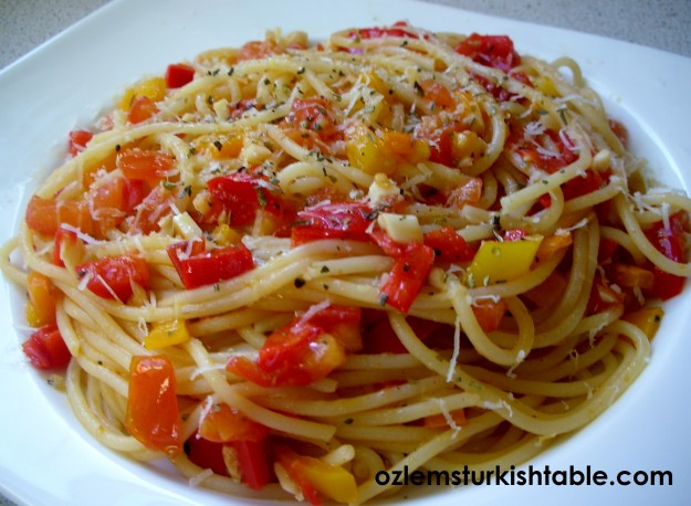 Pasta with peppers, chili, garlic in olive oil, so delicious