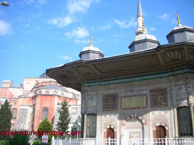 The Fountain of Sultanahmet III prior the entrance of the Topkapi Palace and Hagia Sophia at the background