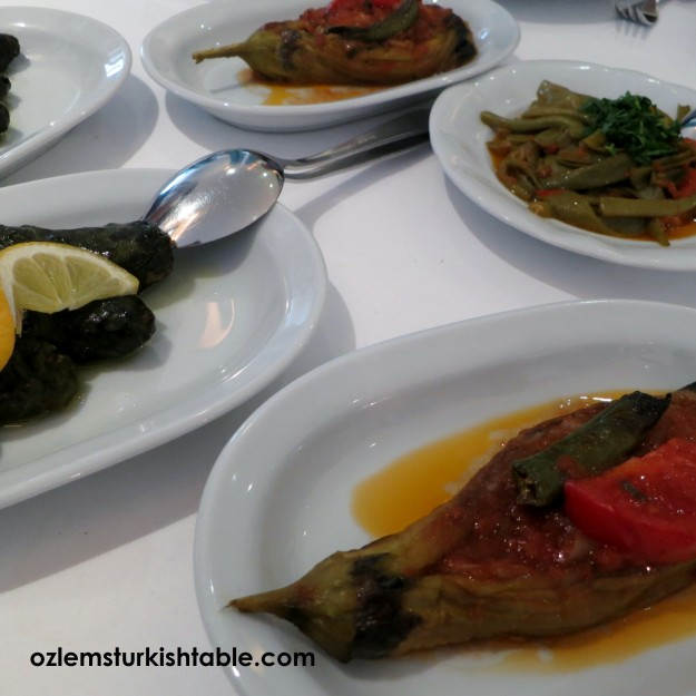Eggplants stuffef with onions, pepper and tomato; Imam Bayildi, and many more at Karakoy Lokantasi