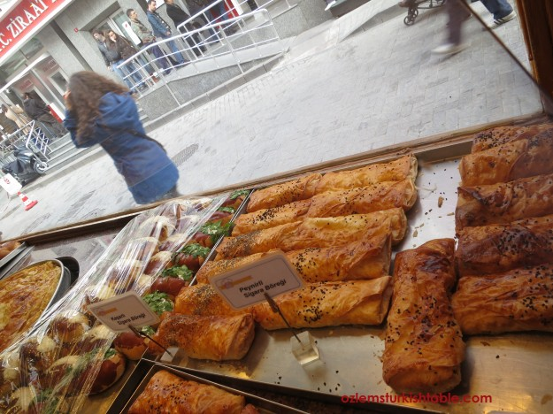Asli Borek, Besiktas; here is the cheese & parsley rolls on display
