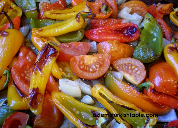Roasted vegetables ready to complement the kebabs - make sure to save the juices to drizzle over the flat bread.