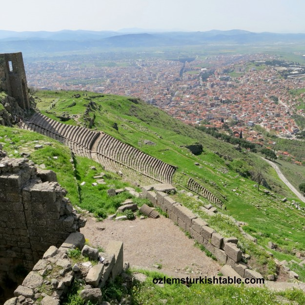 Pergamum, dating back to  159 BC, over looking to today's Bergama