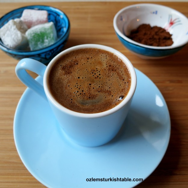 Deliciously frothy Turkish Coffee; Turk Kahvesi