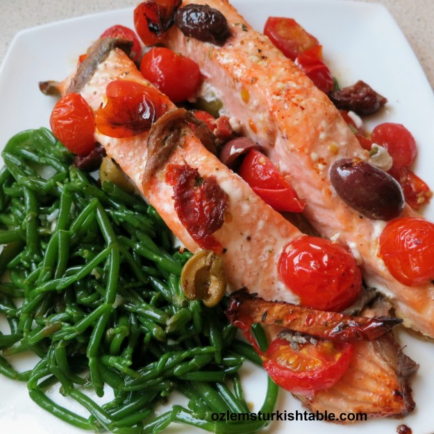 Samphire paired deliciously with baked salmon, cherry tomatoes, anchovies and olives.