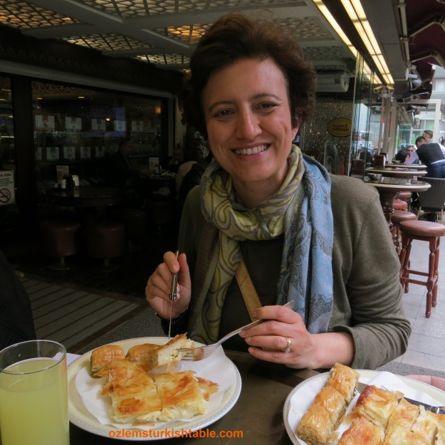 Enjoying boreks and baklavas in Gulluoglu Karakoy, Istanbul