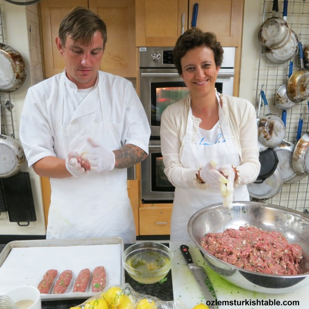 Making the pistachio lamb  kebabs with CM Chef Giovanni at Central Market Cooking School in Austin