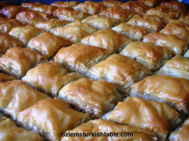 Home made baklava with walnuts and pistachios