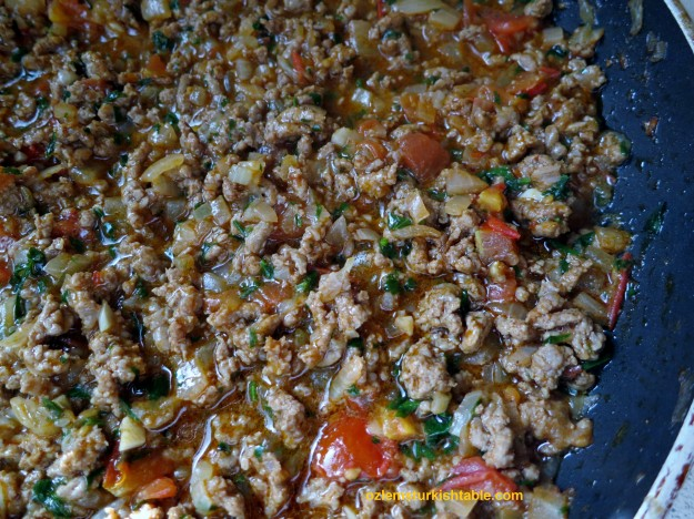 Ground meat and vegetables filling for the yaglama; make sure there is generous liquid in it.