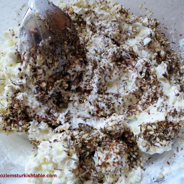 Mix zahtar with the feta cheese and yoghurt.