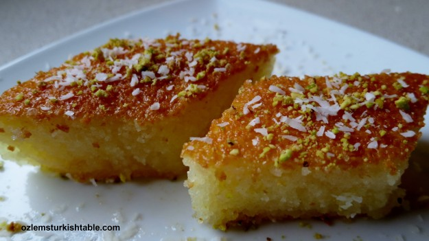Revani; deliciously moist semolina sponge cake in syrup; this lighter version is still packed with flavor.