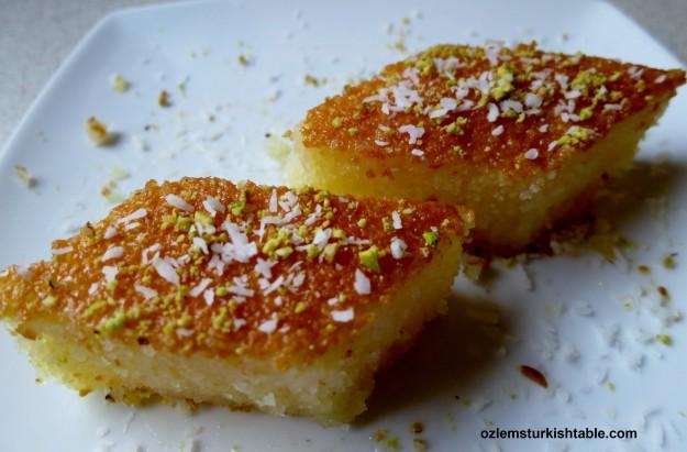 Revani; semolina sponge cake in syrup, delicious.