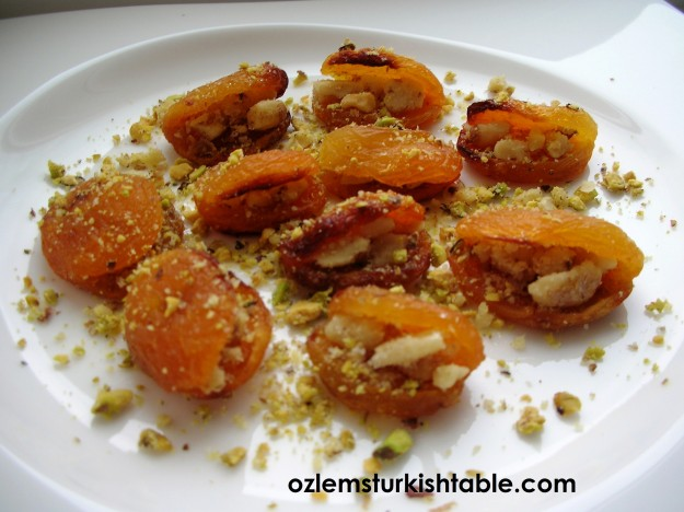 Baked dried apricots with walnuts; delicious, easy and packed with goodness.