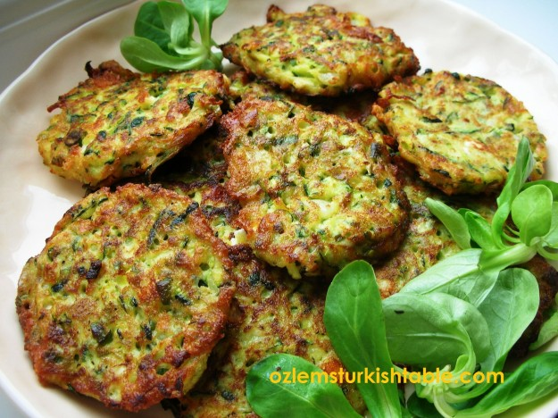 Zucchini fritters with feta, spring onions and dill; Mucver; delicious