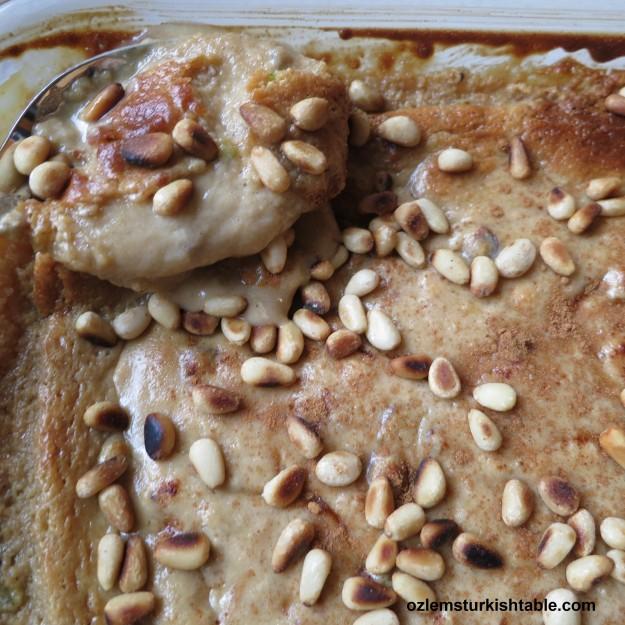 Baked tahini halva or helva with sauteed pine nuts, firinda tahin helvasi