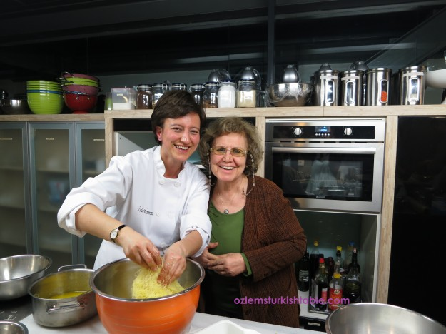 Teaching at Istanbul Culinary Institute last year;  it was wonderful to have mother at the class.