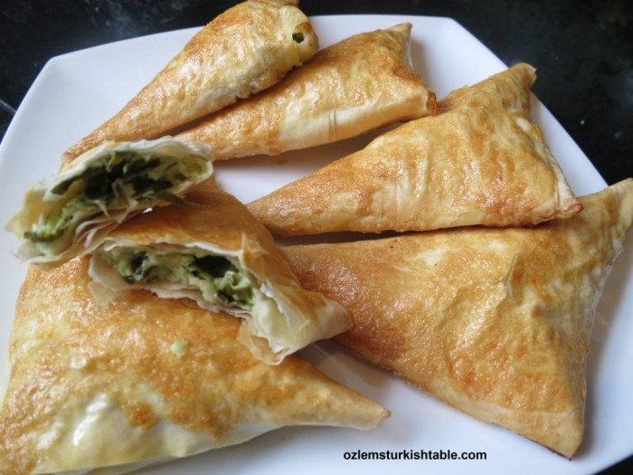 Spinach and feta cheese filo triangles, Muska Boregi