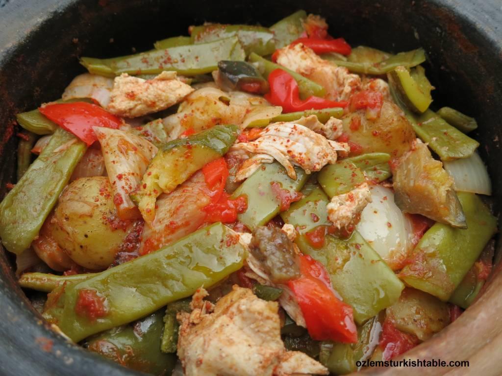 Tavuk Guvec; Turkish Chicken and Vegetable Stew in Earthenware Pot ...
