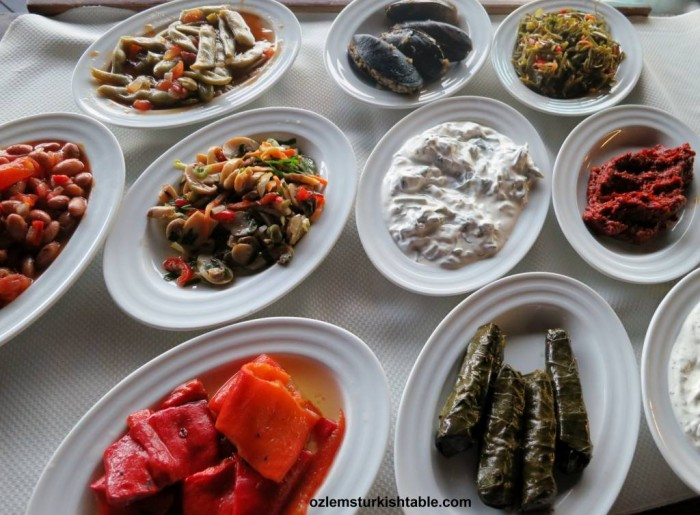 Turkish mezzes and vegetables cooked in olive oil
