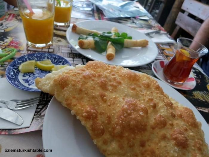 Sigara boregi, ciborek, freshly squeezed orange juice and many more; Turkish breakfast