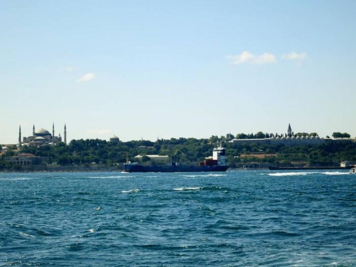 Hagia Sophia and the Topkapi Palace, over the Bosphorus