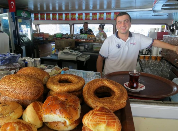 Simit and a glass of cay at the ferry, vapur - one of my favorite rituals