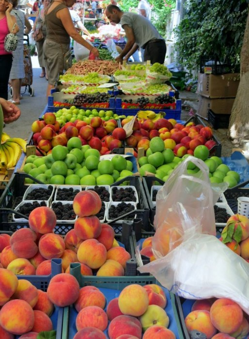 Market day in Burgazada; fresh produce in abundance