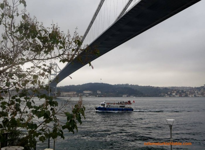 Boats and the Bosphorus Bridge, Istanbul