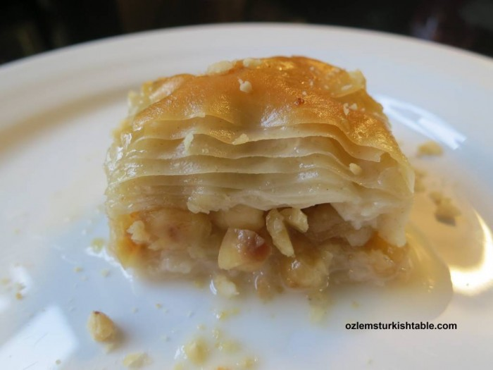 Light, melt-in-the mouth Sutlu Nuriye, a variation of baklava in milky syrup.
