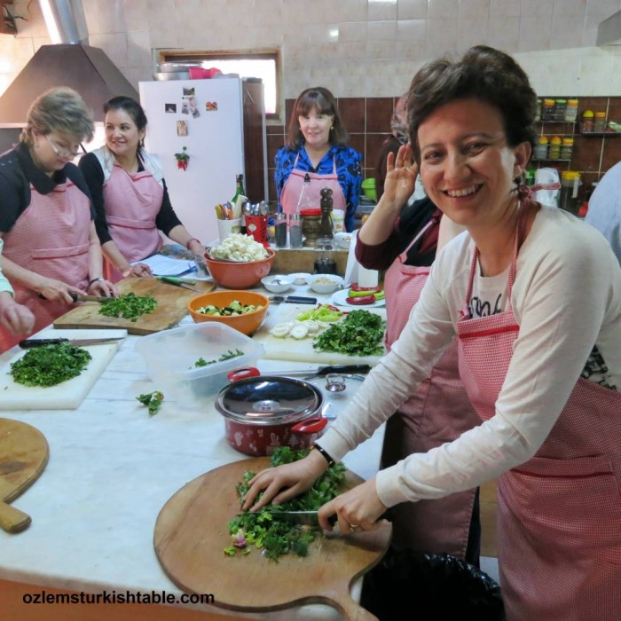 Cooking delicious Aegean flavors at our Turkish cooking class in Sirince, Turkey