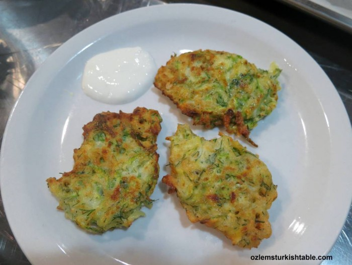 Mucver; Zucchini/courgette fritters with feta and dill