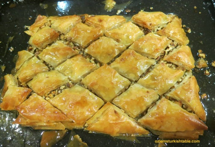 My home made baklava with walnuts; delicious with a lighter, fragrant syrup