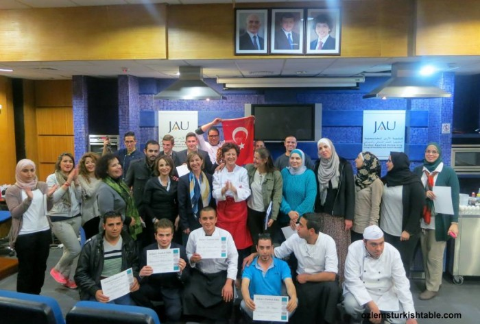 Group photo at the end of our 5 day Turkish cookery course in Amman, Jordan.