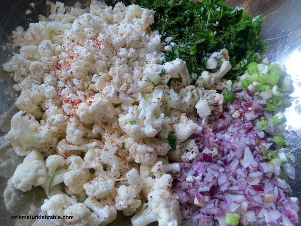 Baked Cauliflower with feta, dill, onions; Karnabahar ...