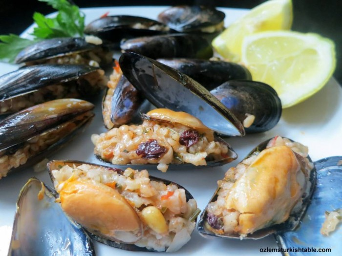 Homemade stuffed mussels with aromatic rice, Midye Dolma
