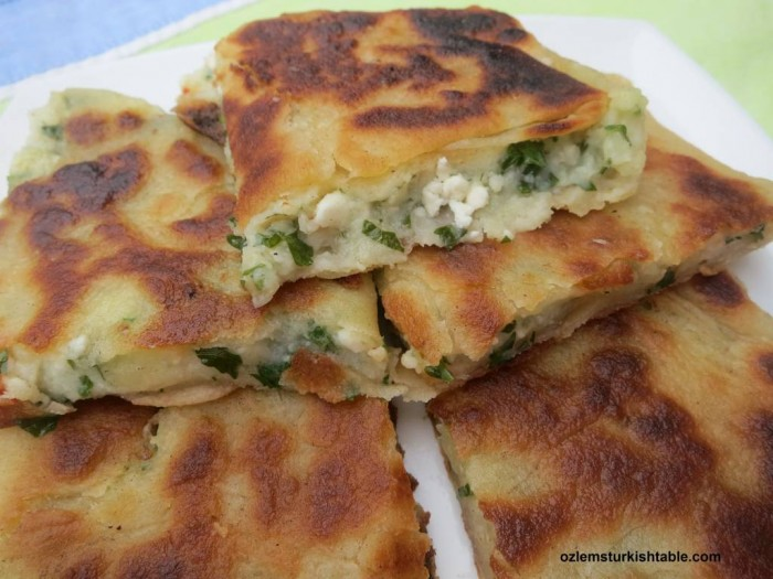 Turkish stuffed flat breads with potato and cheese; Patatesli, Peynirli Gozleme