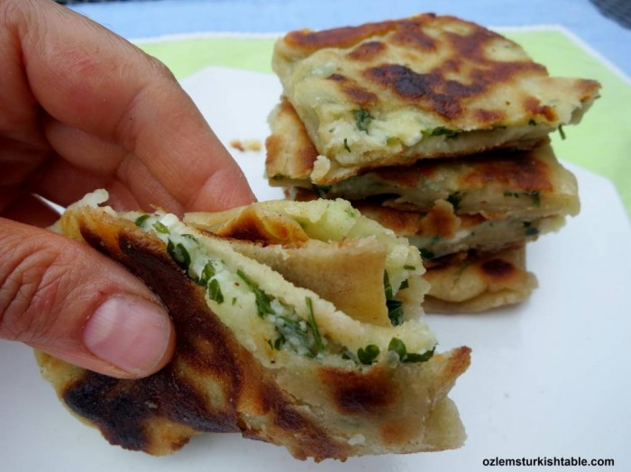 Turkish stuffed flat breads with mashed potato and cheese, Patatesli, Peynirli Gozleme