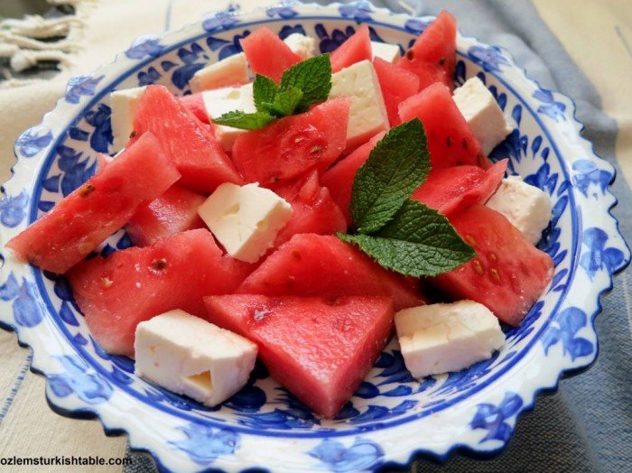 Watermelon and Turkish white cheese (or feta) Salad;  Karpuz, peynir, ekmek