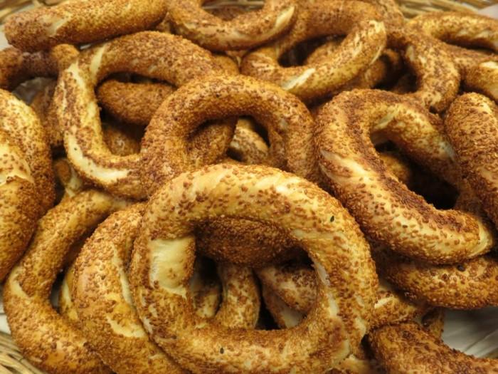 Simit; sesame encrusted bread rings