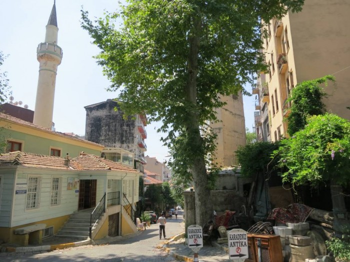 Cobbled streets of Cukurcuma antique market in Cihangir, Istanbul