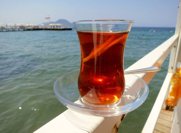 Turkish tea, cay - taste even more delicious by the sea side in Bodrum