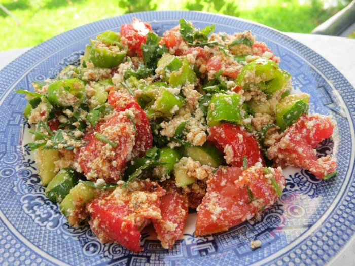 Cokelek Salata; crumbled white cheese or feta salad, flavored with cumin, red pepper flakes and olive oil