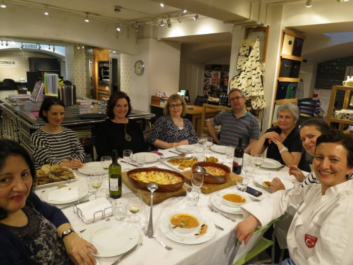 Enjoying the delicious Turkish feast we prepared together at the Divertimenti Cookery School