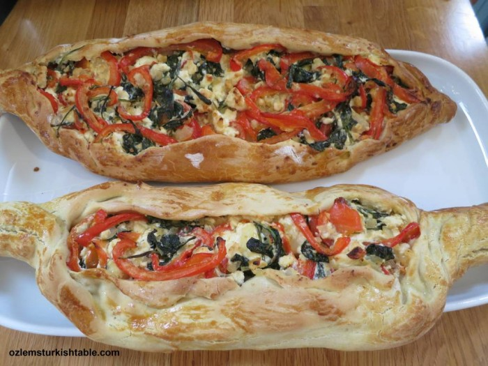 Fabulous Pide with feta, peppers and spinach made by the participants
