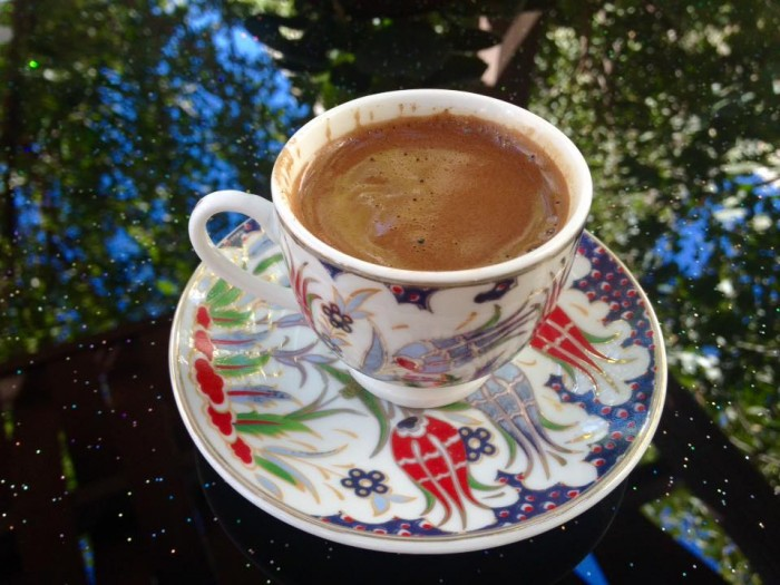 Turkish coffee, enjoyed by everyone at our Turkish cookery course.
