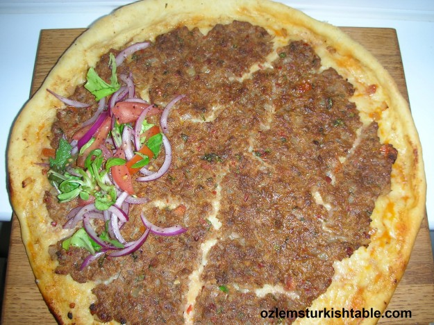 Lahmacun, Turkish thin pizza with ground meat, onion, tomato - a great snack!